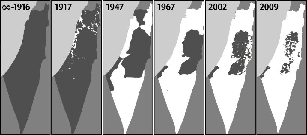 En gris Palestina y en blanco Israel