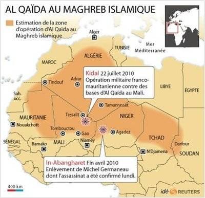 Zona de acción de AQMI (Al Qaeda del Magreb Islámico)