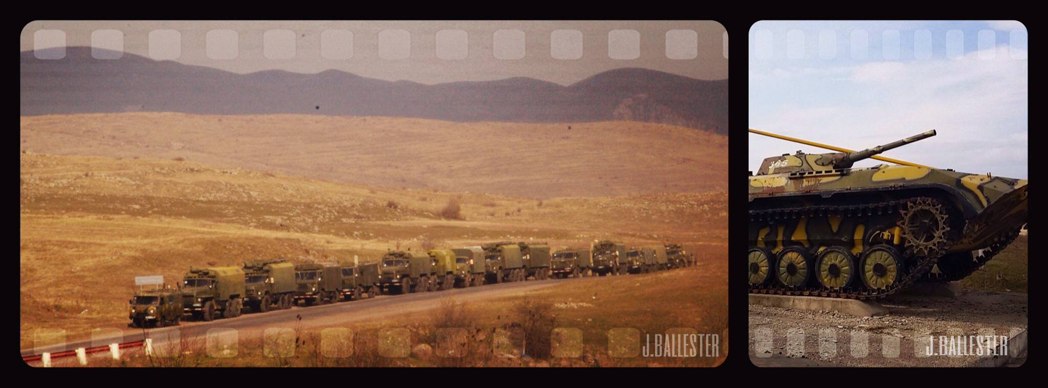 Los vehiculos militares son una constante en las carreteras del país