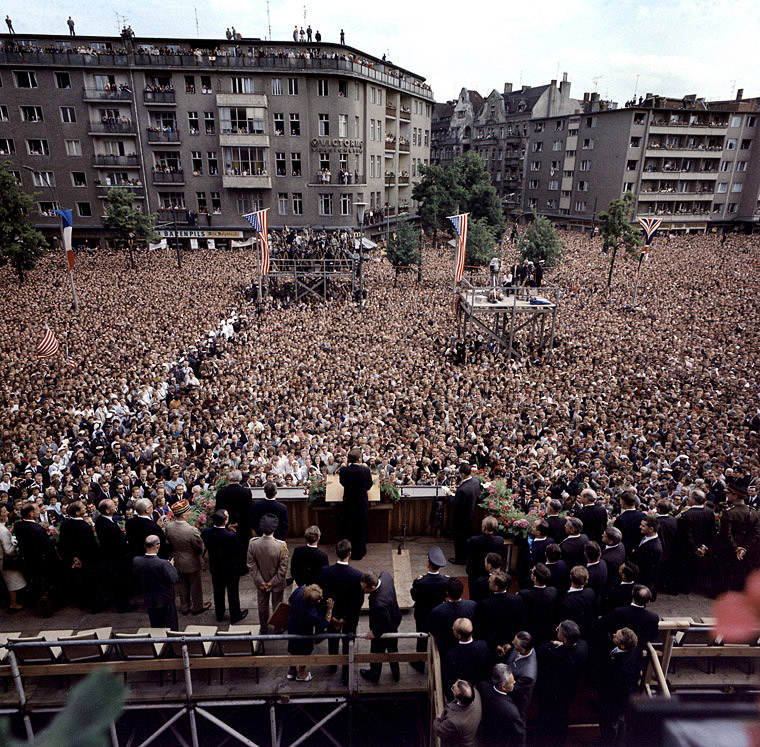 KN-C29248 26 June 1963 President Kennedy's address to the people of Berlin. Rudolph Wilde Platz, West Berlin, Federal Republic of Germany. Photograph by Robert Knudsen, White House, in the John F. Kennedy Presidential Library and Museum, Boston.